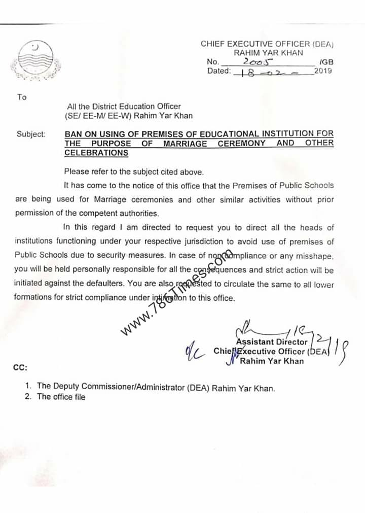 BAN ON USING OF PREMISES OF EDUCATIONAL INSTITUTION FOR THE PURPOSE OF MARRIAGE CEREMONY & OTHER CELEBRATIONS