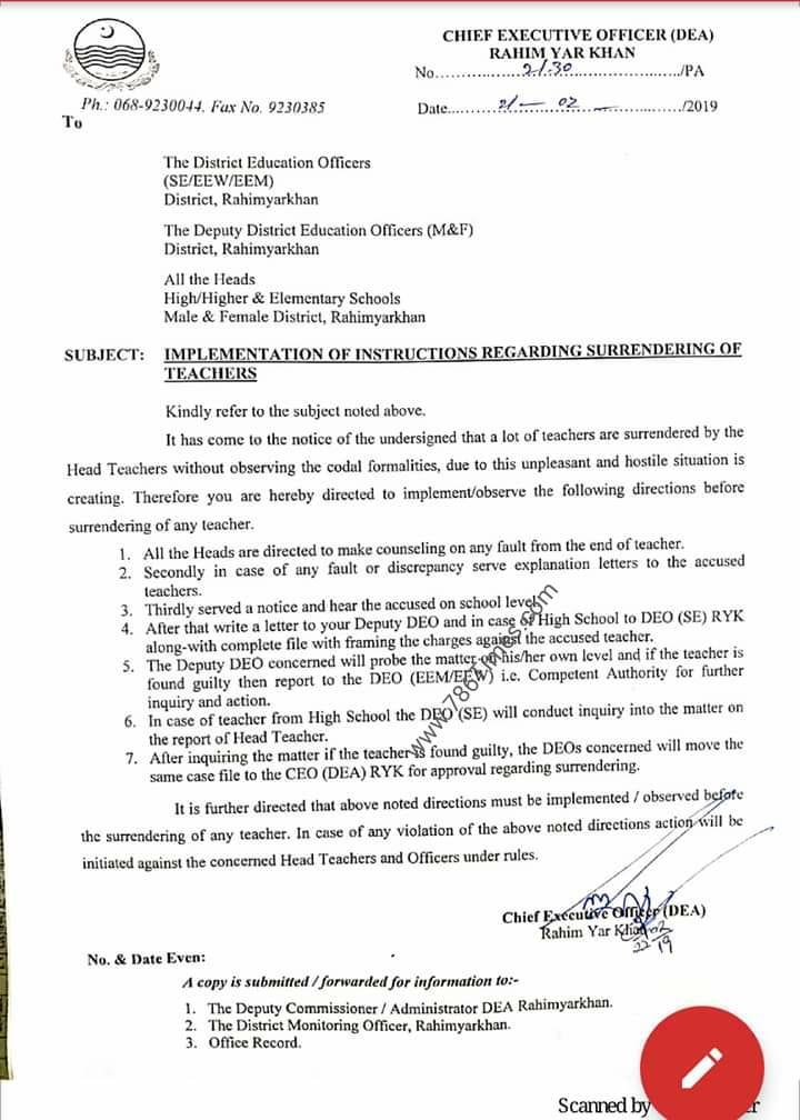 IMPLEMENTATION OF INSTRUCTIONS REGARDING SURRENDERING OF TEACHERS