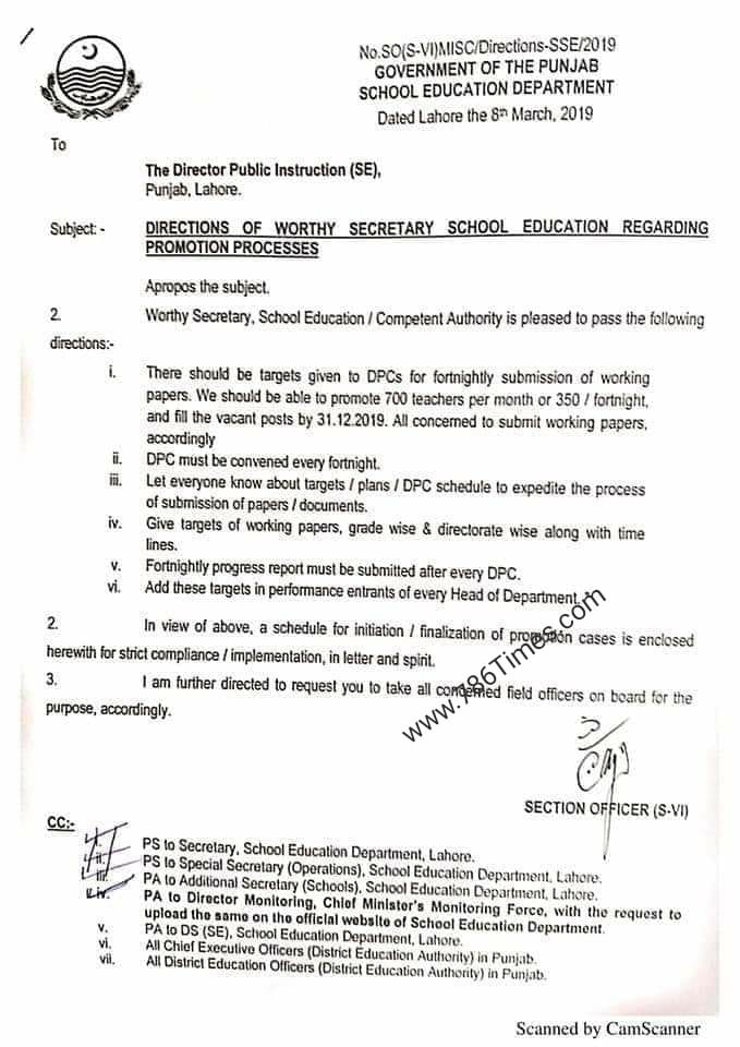DIRECTIONS OF WORTHY SECRETARY SCHOOL EDUCATION REGARDING PROMOTION PROCESSES