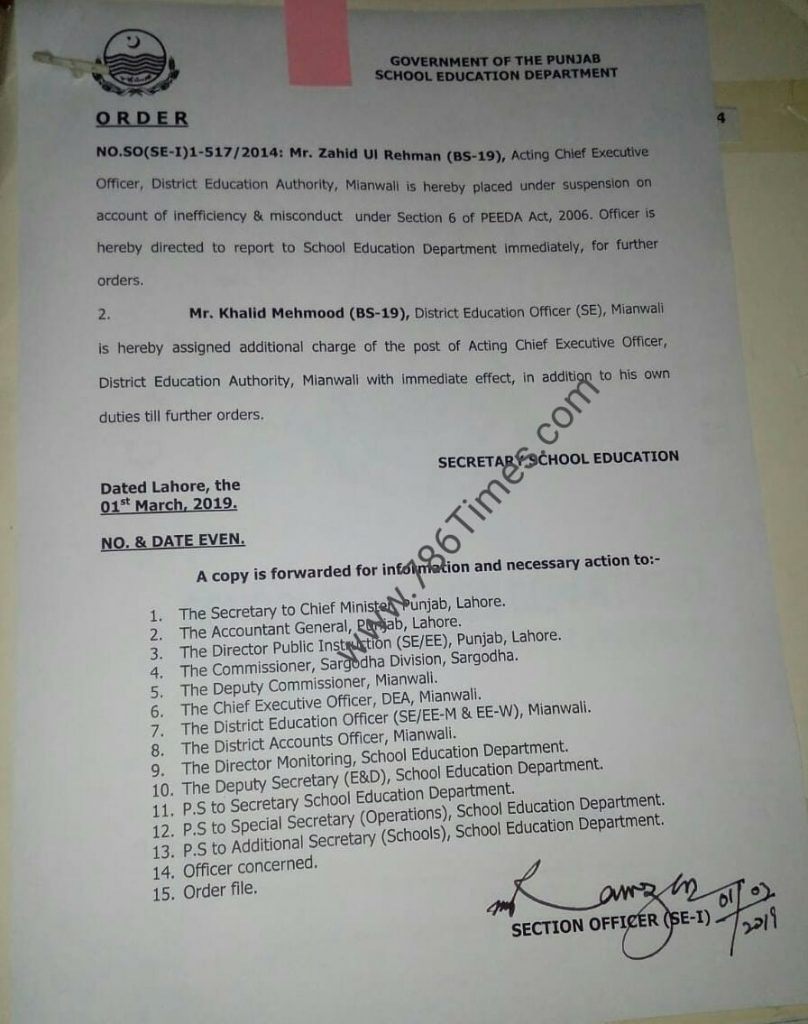 Inefficiency & Misconduct behavior of CEO DEA District Mianwali