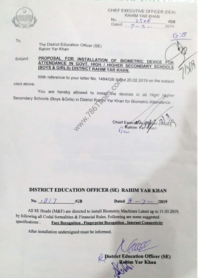 PROPOSAL FOR INSTALLATION OF BIOMETRIC DEVICE FOR ATTENDANCE IN GOVT HIGH / HIGHER SCHOOLS IN RAHIM YAR KHAN