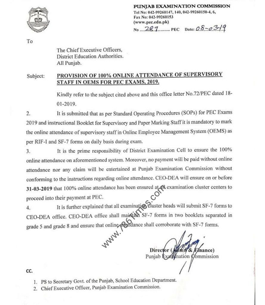 Provision of Online Attendance of Supervisory Staff in OEMS for PEC Exam 2019