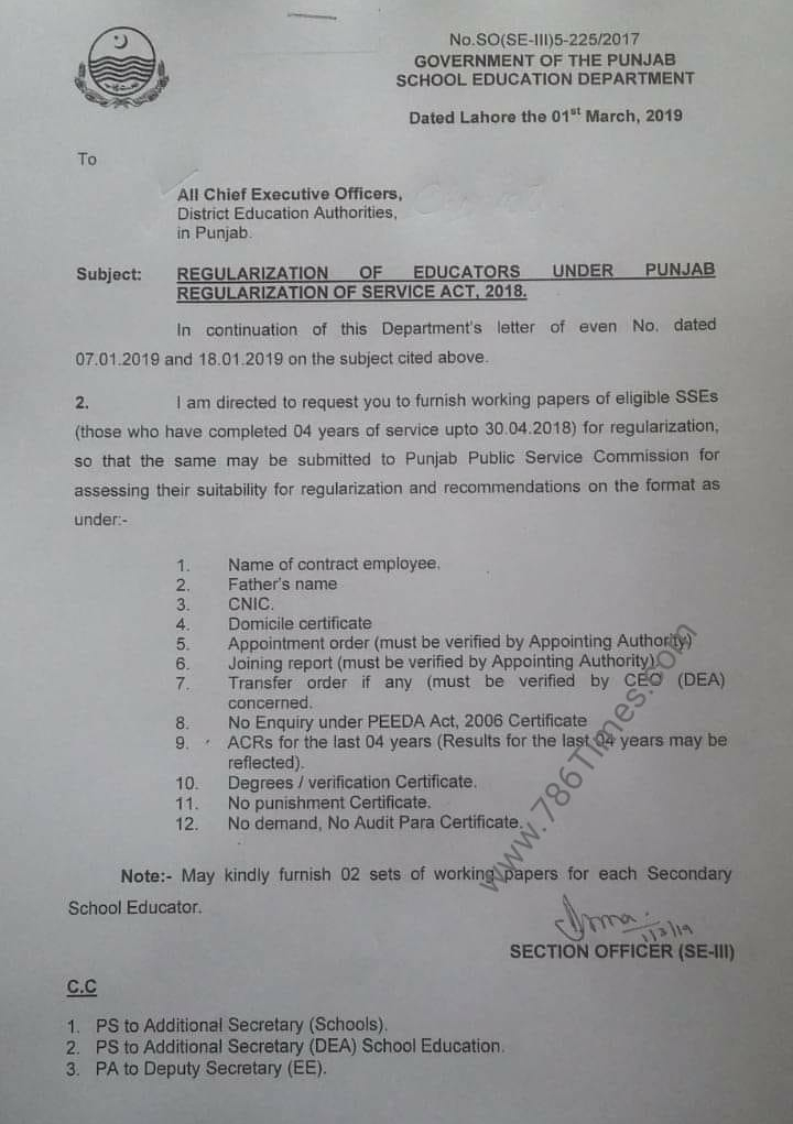 REGULARIZATION OF EDUCATORS UNDER PUNJAB REGULARIZATION OF SERVICE ACT 2018