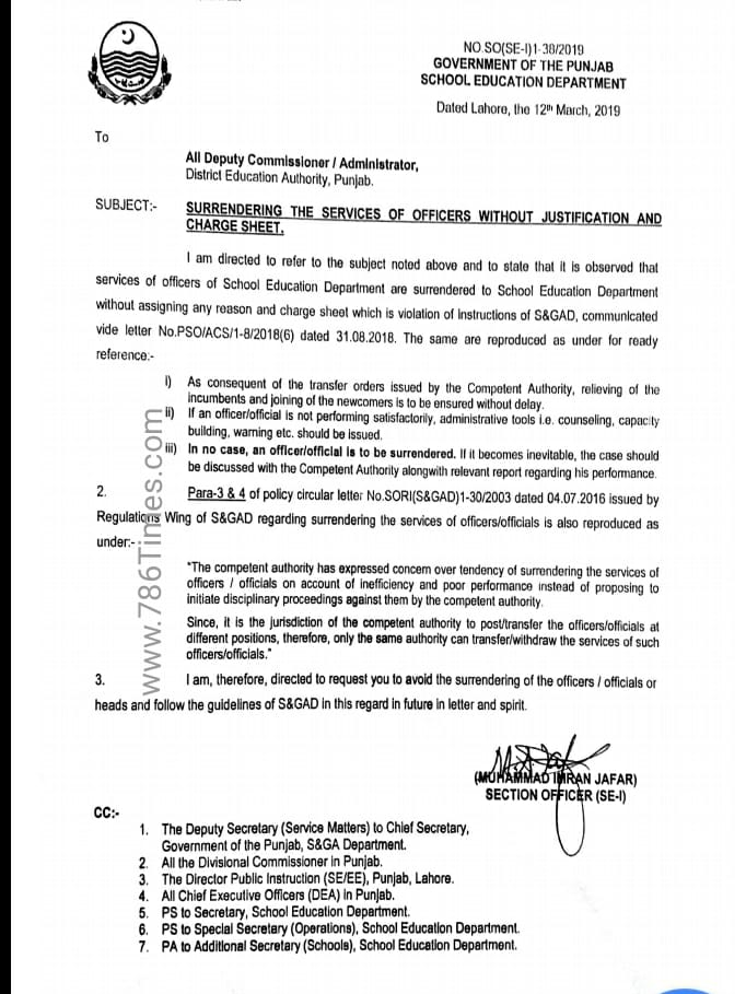 SURRENDERING THE SERVICES OF OFFICERS WITHOUT JUSTIFICATION AND CHARGE SHEET