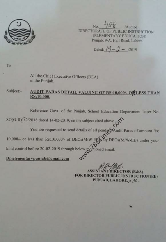 AUDIT PARAS DETAIL VALUING OF RS 10000