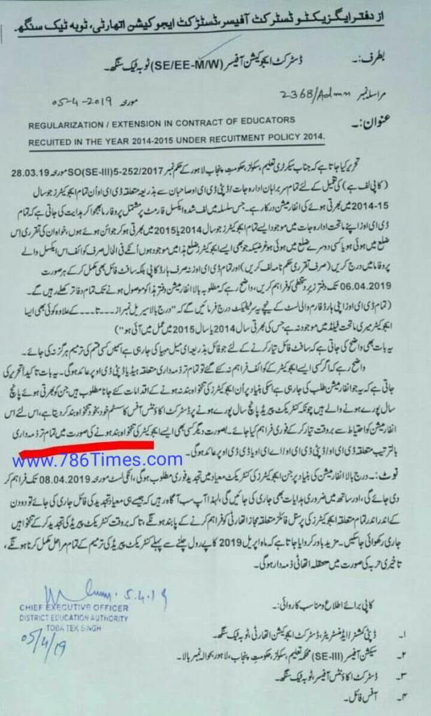 Extension in Contract of Educators recruited in 2014-2015 under recruitment policy 2014 in Toba Take Singh