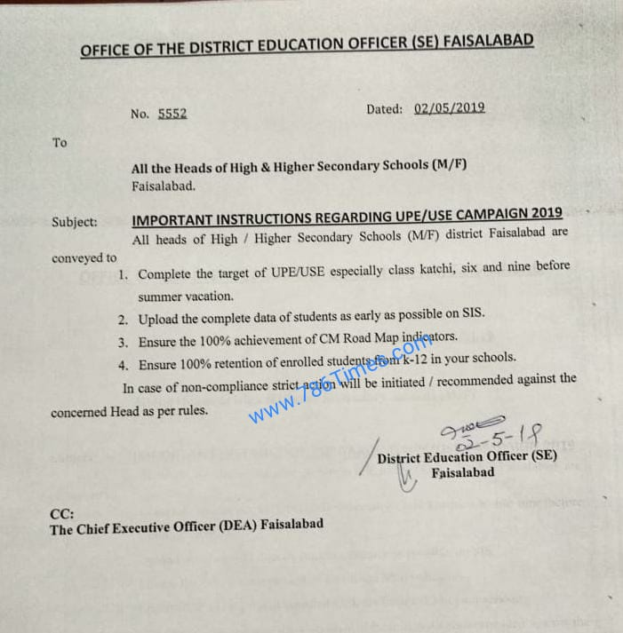 IMPORTANT INSTRUCTIONS REGARDING UPE USE CAMPAIGN 2019 IN FAISALABAD