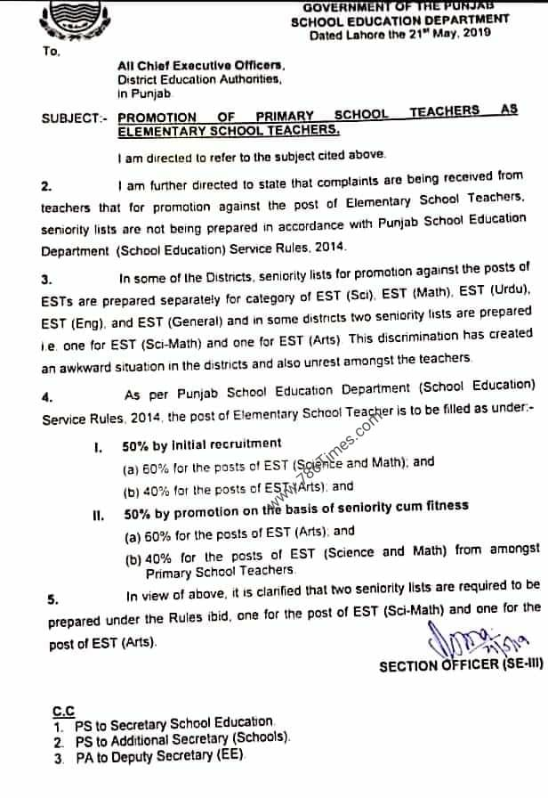 PROMOTION OF PST AS EST IN SCHOOL EDUCATION DEPARTMENT