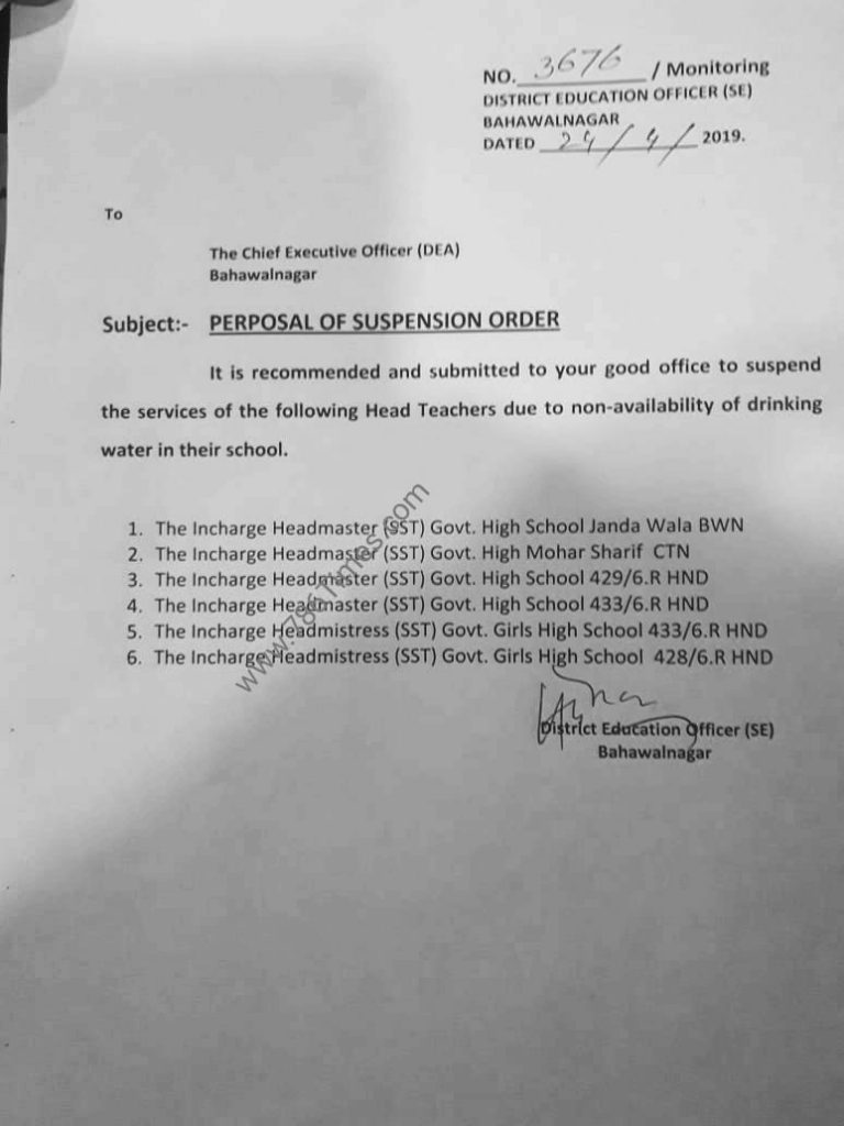 PROPOSAL OF SUSPENSION ORDER DUE TO NON AVAILABILITY OF DRINKING WATER