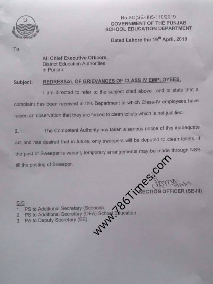 Redressal Of Grievances of Class IV Employees in Schools