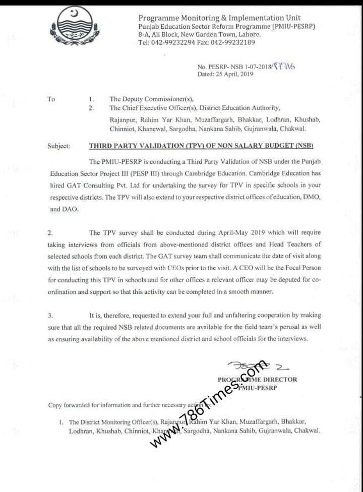 THIRD PARTY VALIDATION OF NON SALARY BUDGET NSB