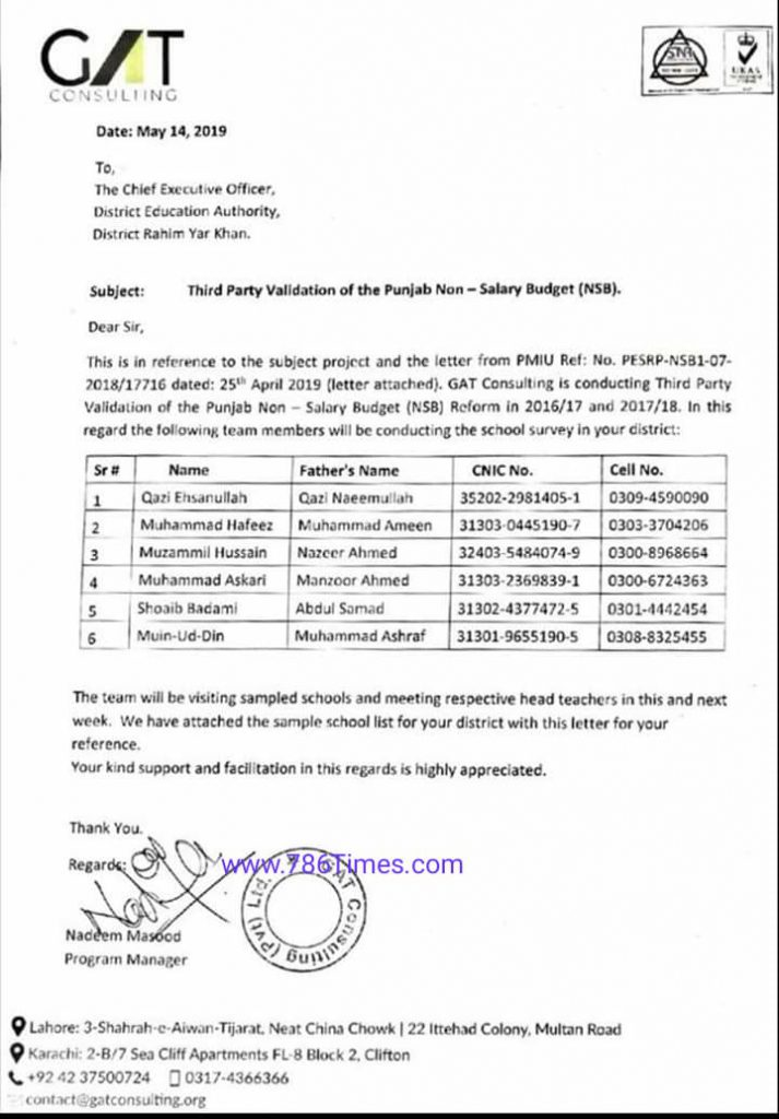 Third Party Validation of the Punjab NSB by GAT Consulting Company Punjab