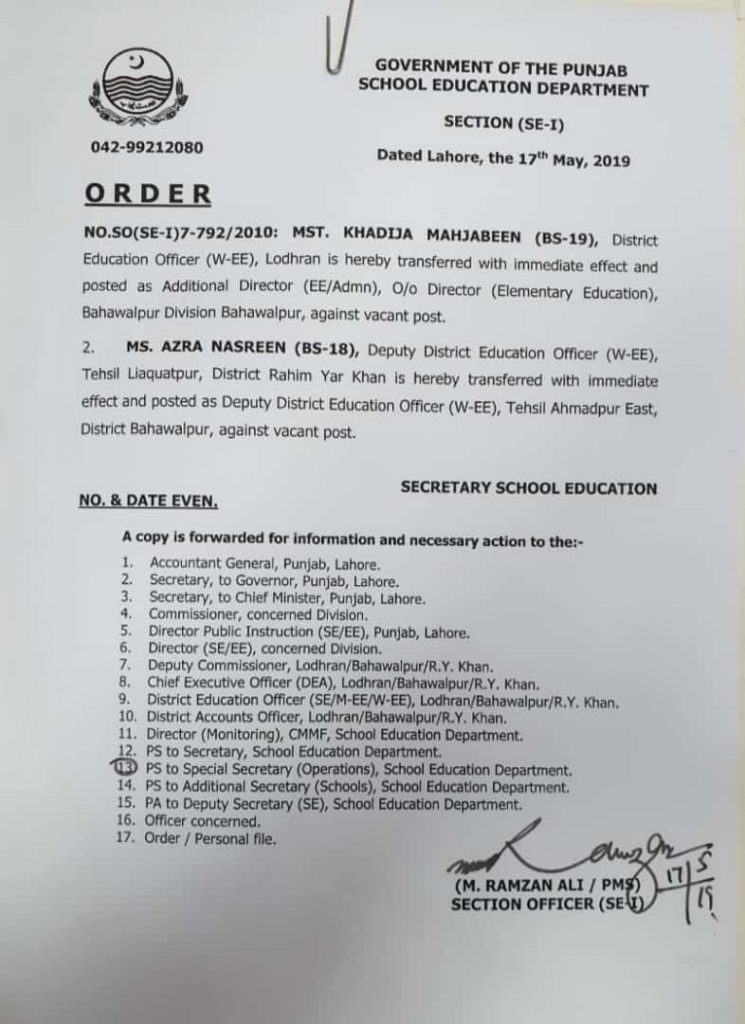 Transfer of Mst. Khadija Mahjabeen as Additional director & Ms Azra Nasreen as DY. DEO W EE Ahmad Pur East