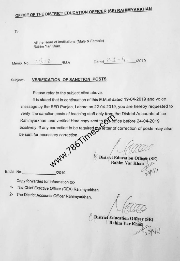 Verification Of Sanction Posts in Rahim Yar Khan