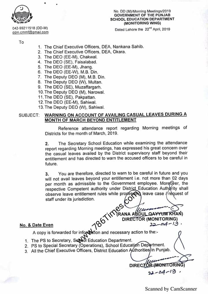 WARNING ON ACCOUNT OF AVAILING CASUAL LEAVES DURING MONTH OF MARCH 2019