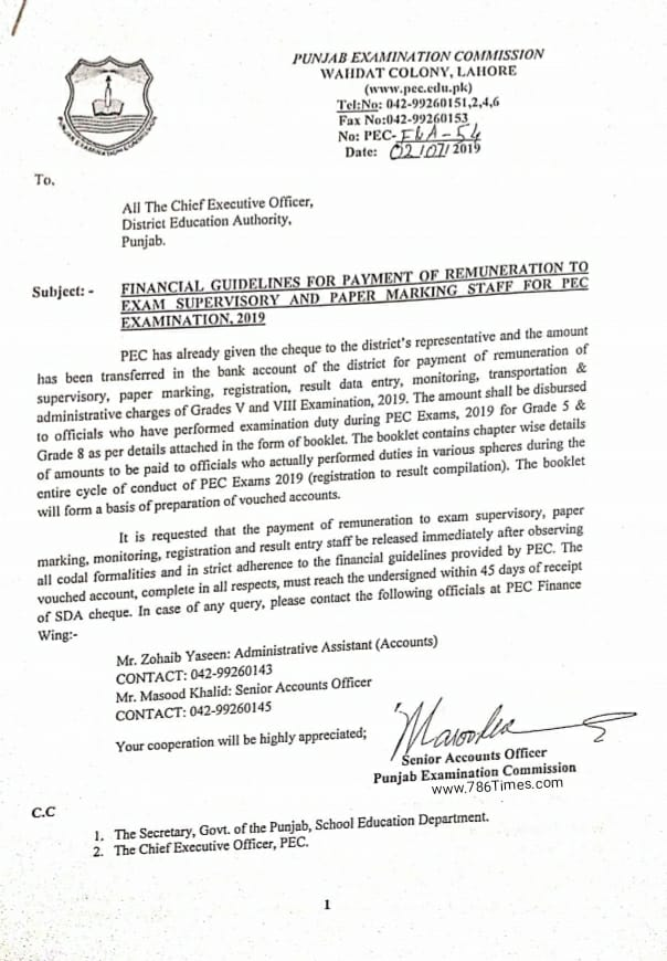 Financial Guidelines for Payment of Remuneration to Exam Supervisory and Paper marking Staff for PEC Exam 2019
