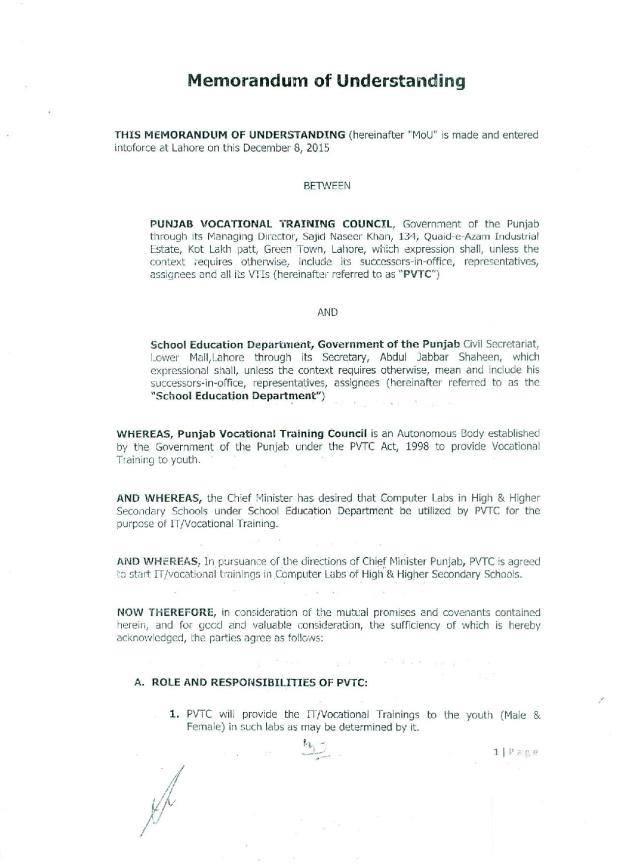 Memorandum of Understanding between SED Govt. of the Punjab and PVTC Lahore